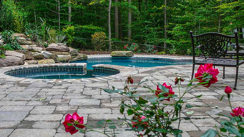 custom pool patio roses